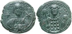 Ancient Coins - Michael VII Ducas. 1071-1078. Æ follis. Constantinople. Good VF, nice dark green patina.