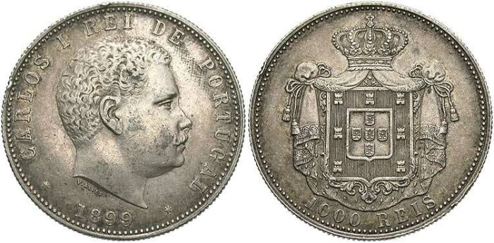 World Coins - Portugal. Carlos I. 1899. AR 1000 Reis. EF.