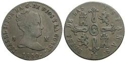 World Coins - Spain. Isabel II. 1850. Æ 8 Maravedis. VF.