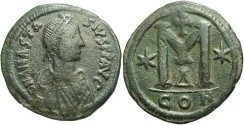 Ancient Coins - Anastasius I. A.D. 491-518. Æ follis. Constantinople. VF, dark green patina.