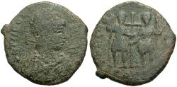Ancient Coins - Theodosius II. A.D. 402-450. Æ maiorina. Constantinople, A.D. 437(?). Fine, green patina. Very rare.