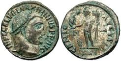 Ancient Coins - Maximinus II. A.D. 309-313. Æ reduced follis. Alexandria, ca. A.D. 312-313. Good VF, silvered.