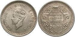 World Coins - India, British. 1944. 1/2 rupee. BU.