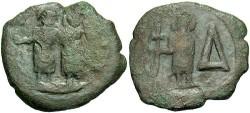 Ancient Coins - Justin II. A.D. 565-578. Æ 4 pentanummia or 1/2 follis. Cherson. VF, brown patina.
