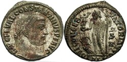 Ancient Coins - Constantine I, the Great. 307-337 AD. Silvered Reduced Follis. Alexandria.
