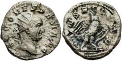Ancient Coins - Divus Vespasian. Died A.D. 79. AR double denarius. Commemorative issue struck under Trajan Decius. Rome, A.D. 250/1. VF.