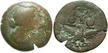 Ancient Coins - Egypt, Alexandria. Faustina II, wife of Marcus Aurelius. Æ drachm. Year 6 (A.D. 165/6). Near Fine, brown patina.