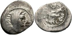 Ancient Coins - Mark Antony & Octavian. 39 B.C. AR quinarius. Military mint travelling with Octavian in Gaul. VF, toned.