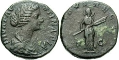 Ancient Coins - Faustina II, wife of Marcus Aurelius. Æ sestertius. Rome, posthumously, A.D. 175/6. VF.