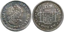 World Coins - Mexico, Colonial. Carlos III. 1783-Mo FF. 1/2 Real. EF, toned, small attempted puncture.
