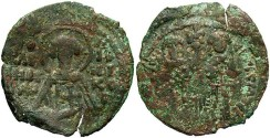 Ancient Coins - Andronicus II, with Michael IX. 1282-1328. Æ assarion. VF, green patina.