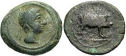Ancient Coins - Spain, Castulo. Ca. 50 B.C. ' 17 mm. VF, green patina. Good example struck on a broad flan.