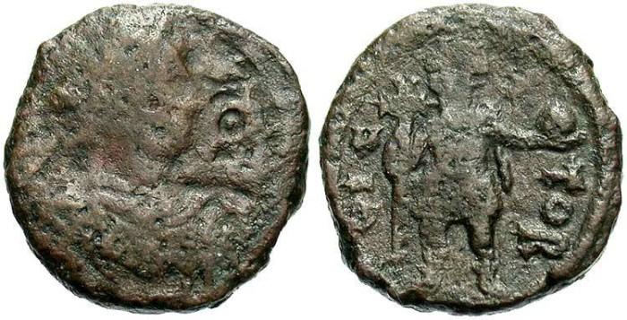Ancient Coins - Justin I. A.D. 518-527. Æ pentanummium. Cherson. Fine.