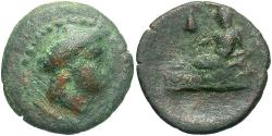Ancient Coins - Thrace, Odessos. Ca. 281-270 B.C. ' 15 mm. Near VF, brown and green patina.