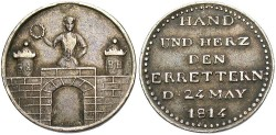 World Coins - Germany, Magdeburg. 1814. AR Medal. Toned VF.
