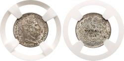 World Coins - Louis Philippe I (1640-1701). Silver ¼ Franc, 1840-A. NGC graded MS 64.