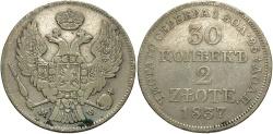 World Coins - Poland, under Russia. 1837-MW. 2 Zlotych (30 Kopeks). VF.