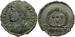Ancient Coins - Jovian. A.D. 363-364. Æ 21 mm. Heraclea. Good VF, grey-green patina.