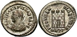 Ancient Coins - Crispus. A.D. 316-326. Æ reduced follis. Thessalonica; A.D. 317. VF, fully silvered.