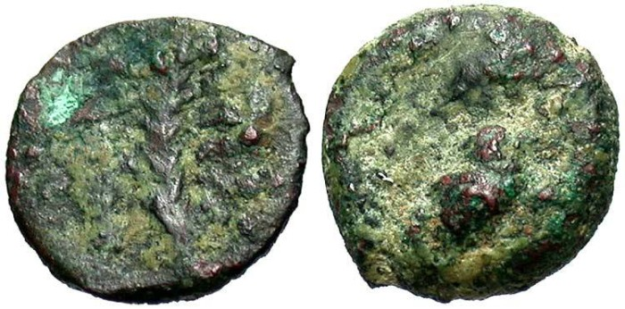 Ancient Coins - Hasmonean Kingdom of Judaea. Alexander Jannaeus (Yehonatan). 103-76 B.C. Æ lepton. Fine, green patina. Very rare.