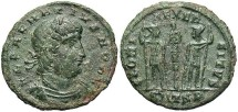 Ancient Coins - Delmatius. A.D. 335-337. Æ reduced follis. Thessalonica. VF, green patina.