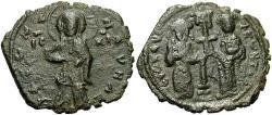 Ancient Coins - Constantine X. 1059-1067. Æ follis. Near VF.