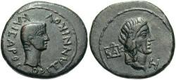 Ancient Coins - Bosporan Kingdom. Kotys I, with Britannicus. A.D. 45-68. Æ 8 Units. A.D. 49-54. VF, dark brown patina. Very rare.