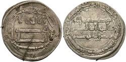 World Coins - Abbasid. Harun al-Rashid. 170-193/786-809. AR dirham. Basra, A.H. 182. Toned VF, test scratch on obverse. Rare.