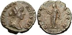 Ancient Coins - Faustina II, daughter of Antoninus Pius. AR denarius. Roma, ca. A.D. 154-157. Toned VF.