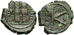 Ancient Coins - Justin II. A.D. 565-578. Æ 1/2 follis. Thessalonica, year 6 (A.D. 571/2). VF, brown patina.