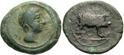 Ancient Coins - Spain, Castulo. Ca. 50 B.C. Æ 17 mm. VF, green patina. Good example struck on a broad flan.