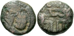 Ancient Coins - Indo-Parthians. Uncertain king. Ca. A.D. 175-230. Æ drachm. Fine, green and brown patina