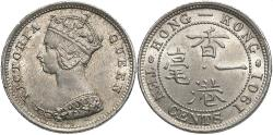 World Coins - Hong Kong. Victoria. 1837-1901. 10 cents. BU.
