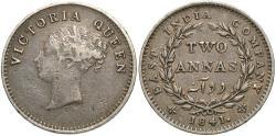 World Coins - India, British. 1841. 2 annas. VF.