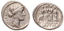Ancient Coins - M. Junius Brutus Ar. denarius (54 BC)