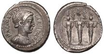 Ancient Coins - P. Accoleius Lariscolus Ar. denarius (43 BC)