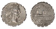 Ancient Coins - Q Antonius Balbus Ar serrate denarius (83-82 BC)