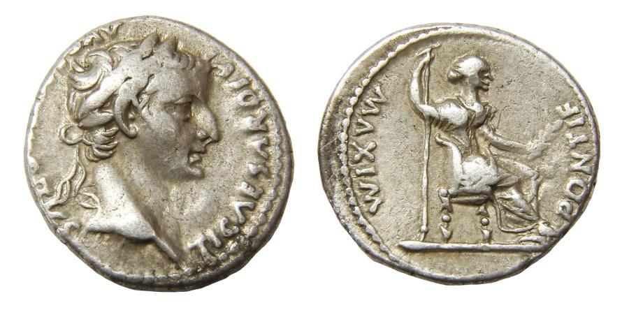 Ancient Coins - Tiberius Ar. denarius