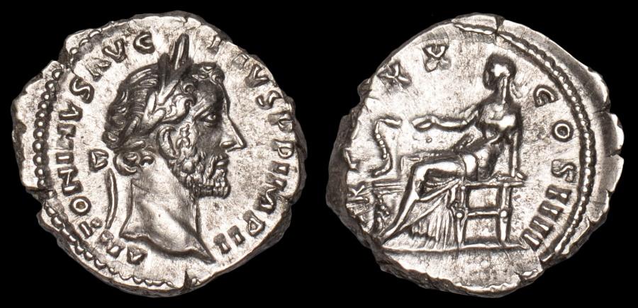 Ancient Coins - Antoninus Pius Ar. denarius