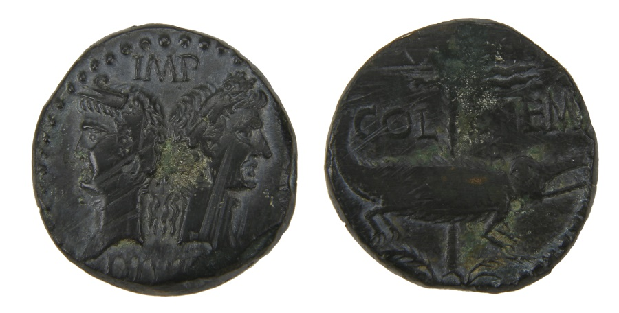 Ancient Coins - Augustus and Agrippa Ae. dupondius