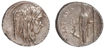 L. Hostilius Saserna Ar. denarius