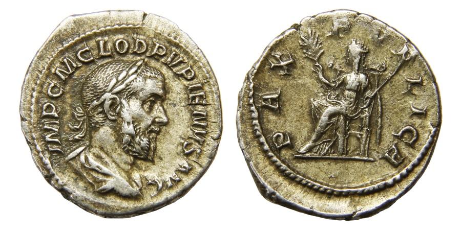 Ancient Coins - Pupienus Ar. denarius (AD 238)