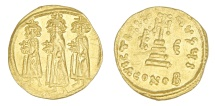 Ancient Coins - Heraclius, Heraclonas and Heraclius Constantine Au. solidus