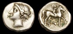 Ancient Coins - Taras Ar. didrachm (Campano-Tarentine type)