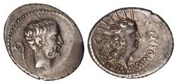 Ancient Coins - Mark Antony Ar. denarius (42 BC)