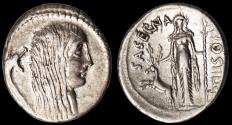Ancient Coins - L. Hostilius Saserna Ar. denarius (48 BC)