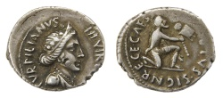 Ancient Coins - Augustus Ar. denarius (with the name of moneyer P. Turpilianus)
