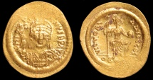 Ancient Coins - Justin II Au. lightweight solidus (AD 565-578)
