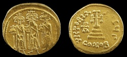 Ancient Coins - Heraclius, Heraclius Constantine and Heraclonas - Cross-on-Steps Solidus