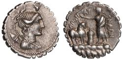 Ancient Coins - A. Postumius A. f. Sp. n. Albinus Ar. denarius (81 BC)